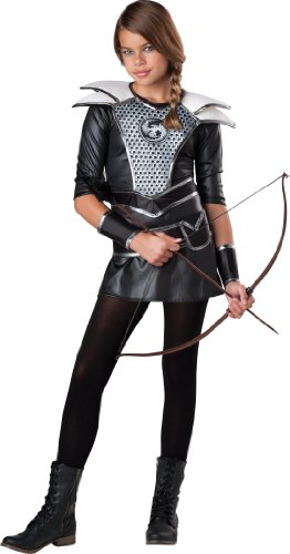 InCharacter Costumes Girls' Midnight Huntress, Silver/Black, Small