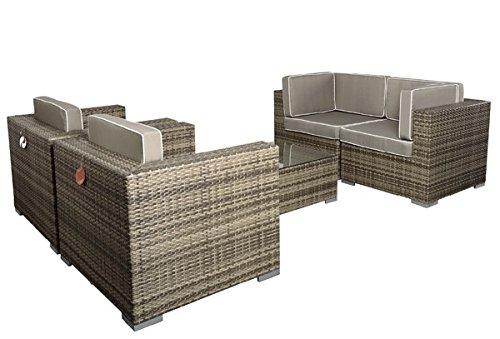 Rattan Lounge Espace Exclusive Set 4 – 7 Sitze inkl. Kissen – Farbe: Grau meliert online kaufen