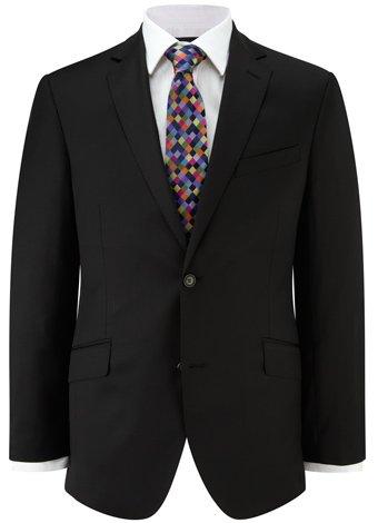 Austin Reed Contemporary Fit Black Gaberdine Jacket LONG MENS 44