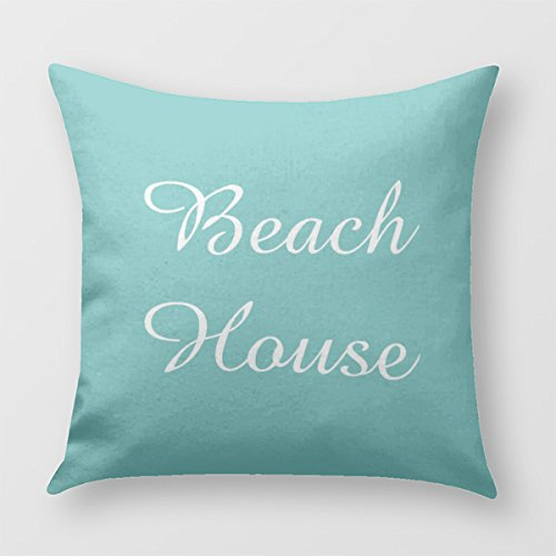 Teal Seafoam Beach House Pillow Cover for Sofa or Bedroom (Beach House Pillows compare prices)