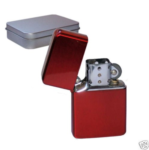 Personalised Red Flip Top Petrol Lighter Engraved