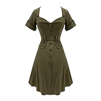 cadet green army vintage 1940s retro dress s 10