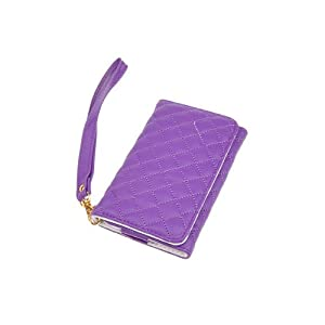 Purple Faux Leather Purse Wallet Case Card Holder for iPhone 5 4 4G 4s