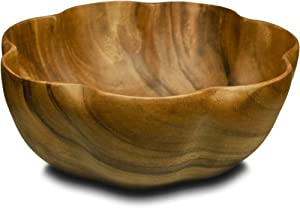 Pacific Merchants Acaciaware 10- by 4-Inch Acacia Wood Round Flared Serving Salad Bowl by Pacific Merchants Trading