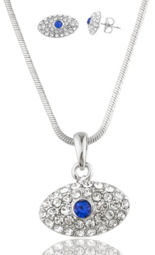 Silvertone With Blue Rhinestone Eye Shaped Pendant With 16 Inch Snake Chain And Matching Earrings Jewelry Set