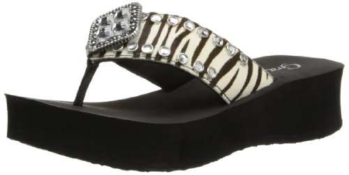 Grazie Women'S Myra Flip Flop,Black/White/Zebra,6 B Us back-731110