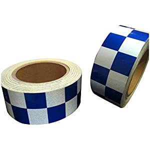 New Reflective Grade Blue White Chequer Tape 50mm X 5M