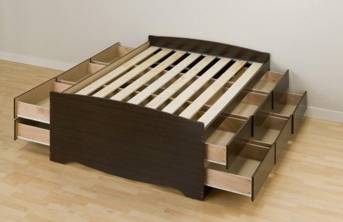 Prepac Espresso Tall Queen Platform Storage Bed (12-drawers)