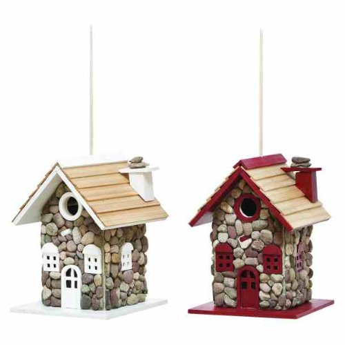 Deco 79 20308 2-Piece Wood Bird House Set, 8 by 10-Inch, Assorted