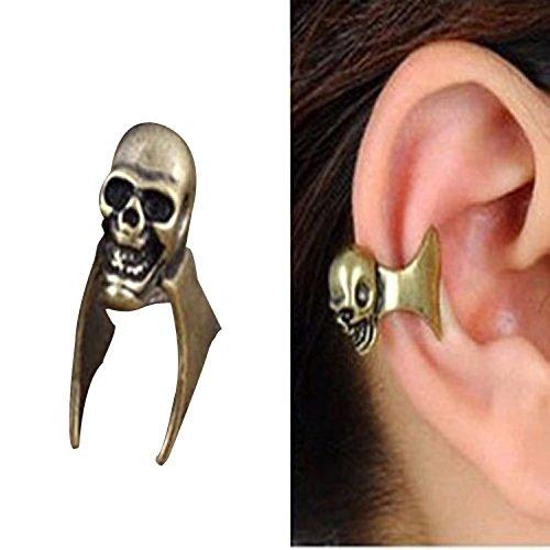 Retro cranio fantasma Uomo Donna fredda dell'orecchio del polsino dell'involucro Stud orecchino