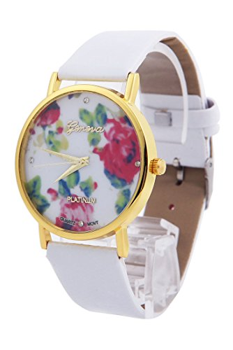 shot-in New Fashion Leather Geneva Rose Flower Watch For Women Dress Quartz Watches (White)
