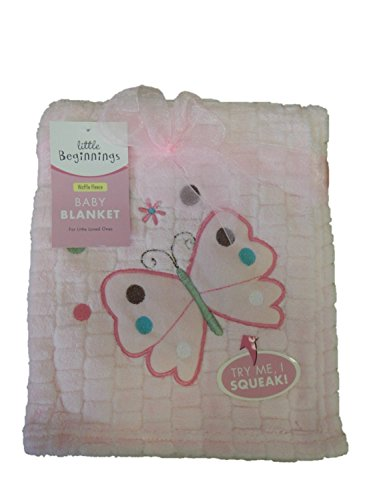 Little Beginnings Pink Waffle Fleece Baby Blanket - 1