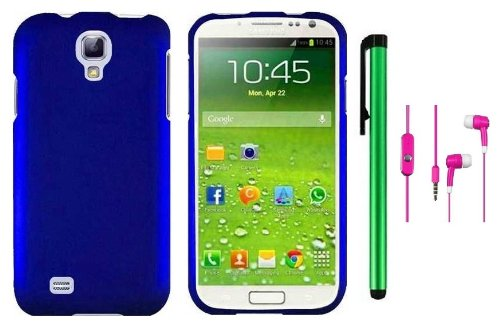 Samsung Galaxy S4 I9500 Accessory - Premium Plain Color Protector Hard Cover Case / 1 Random Color Handsfree Headset 3.5Mm Stereo Earphones / 1 Of New Metal Stylus Touch Screen Pen (Metallic Blue)