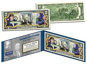 [DONALD TRUMP For President 2016 OFFICIAL Colorized Legal Tender U.S. $2 Bill] (Prison Mike Halloween Costume)