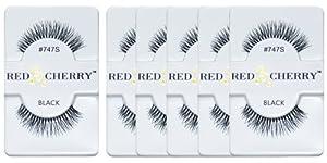 Red Cherry False Eyelashes #747S, Black (Pack of 6)