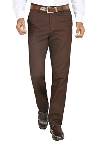 Modo-Mens-Regular-Fit-100-Cotton-Formal-Dobby-Dark-Brown-Trouser