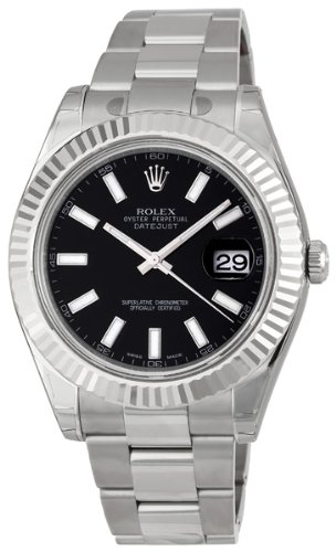 Rolex Datejust II Black Index Dial Fluted 18k White Gold Bezel Oyster Bracelet Mens Watch 116334BKSO