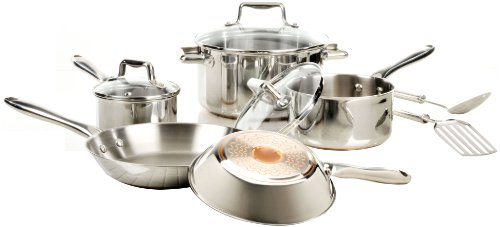 T-Fal Performance Stainless Steel Copper Bottom Cookware, 10 Piece Set