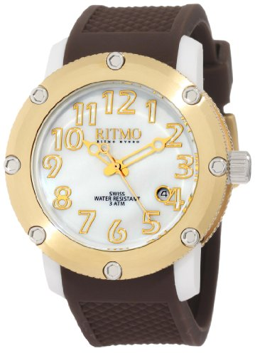 Ritmo Mundo Women's 242 White YG Carnival Sport Quartz on Rubber Strap Watch