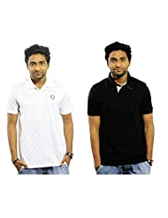 Garushi Men'S White And Black Polo Neck T-Shirt Combo - B00YMKYW7G