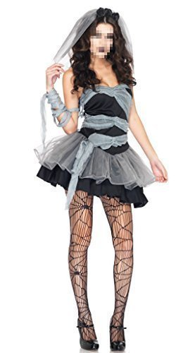 [GuPoBoU168 Women's Holloween Costume Cosplay Party Bride Witch Dress Adult] (Holloween Spirits Costumes)