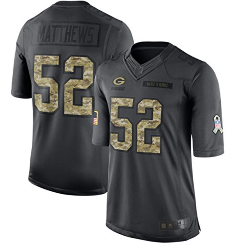 Men's Green Bay Packers #52 Clay Matthews Stitched Black 2016 Salute to Service Jersey M (Service Matts compare prices)