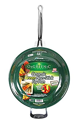Orgreenic 12 in Frying Pan by BulbHead, Ceramic Cookware - Cook Delicious Healthy Recipes the Safe Way