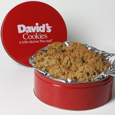 David's Cookies Oatmeal Raisin Fresh Baked Cookies 2 lb. Tin