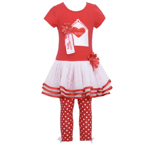 Bonnie Jean Baby Girls Valentine Tutu Dress Outfit w/ Leggings, Red, 12M - 24M