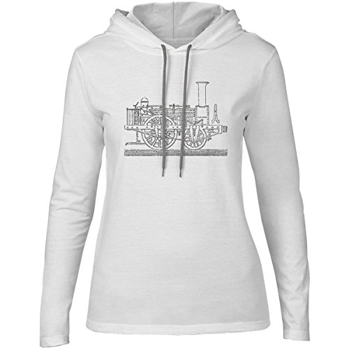 Big Texas Steam Tram Blueprint Womens Fine Jersey Hooded T-Shirt, White, 2XL (Steam Tram compare prices)