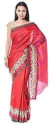 Mahek Women's Silk Saree with Blouse Piece (Red)