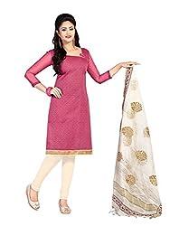 Khoobee Presents Chanderi Dress Material(Pink,Light Cream)