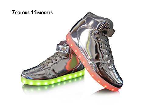 Silver High Top Led Light Up Shoes PU Leather Cool Party Fashion Sneaker-LS01-SV38