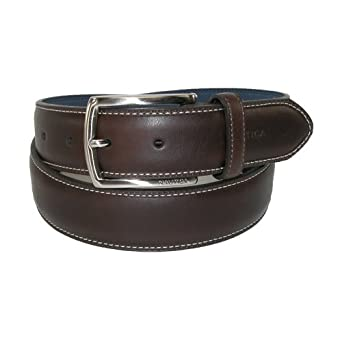Nautica Mens Leather Feather Edge with Stitch Detail 1 1/8 Inch Belt