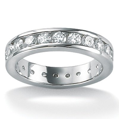 Lux CZ Platinum Over Sterling Silver Round Eternity Ring Size 9
