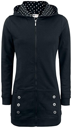 Pussy Deluxe Black Longsweater Coat With White Dotties Lining Felpa jogging donna nero S