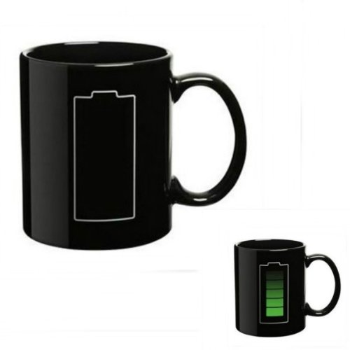 DCDEAL Magic Mugs Amazing New Porcelain Temperature Heat Sensitive Color Changing Coffee Mug Cup Good Unique Gift Idea(Battery Morph)