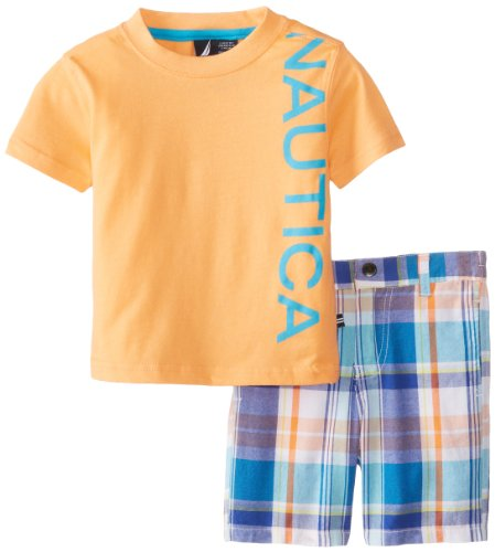 Nautica Baby-Boys Infant Screen Tee And Plaid Short 2 Piece Set, Light Orange, 12 Months back-997140