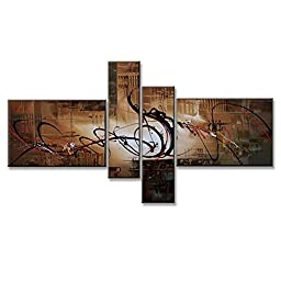 Neron Art - Symphony Abstract Oil Paintings Set of 4 Panels on Gallery Wrapped Canvas 50X32 inch (127X81 cm)