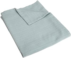 Coyuchi Dobby Weave Throw Blanket, Pale Dusty Aqua