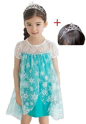 Frozen Costume Disney Tiara 2-piece Set (Size:120, Blue)アナと雪の女王風 衣装(120cm, 青)