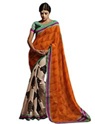 Sareez Off White & Orange Color Bhagalpuri Silk Saree