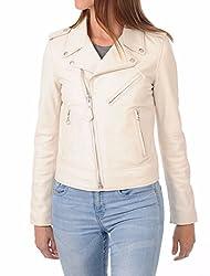 Syedna Cream Leather Women Biker Jacket