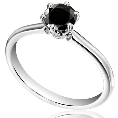 Attractive RBC 1.11 Ct+ Real Black Solitaire Diamond 925 Sterling Silver Ring + Free Re-size