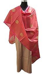 Indo Mood   Blush Pink Hand Woven Silk Fabric For Kurta & Banarasi Dupatta