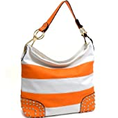 Dasein Striped Rhinestone Studded Flat Bottom Hobo Shoulder Bag with Removable Handle