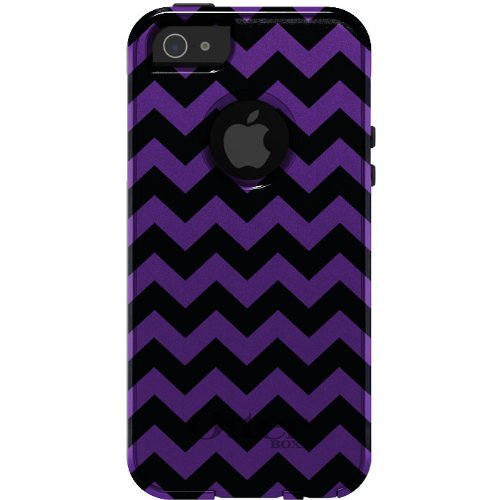 Special Sale CUSTOM OtterBox Commuter Series Case for iPhone 5 5S - Chevron Stripes Zig Zag (Black & Purple)