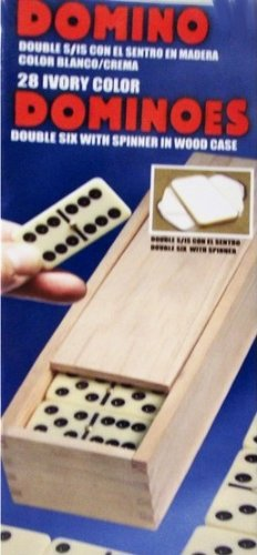 Double Six Ivory Color Dominoes with Wood Case and Spinner (by Cardinal)