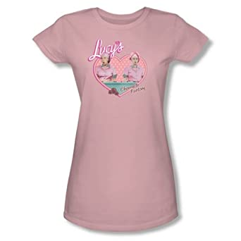 I Love Lucy - Chocolate Factory Juniors / Girls T-Shirt In Pink, Size: X-Large, Color: Pink