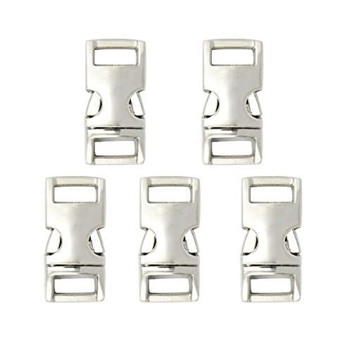 Easywisdom 10PCS 3/8 inch (10mm) Silver Color Flat Side Release Metal Buckles Clasps for Backpack Belt Bracelet with Free Cable Organizer (Silver Side Release Buckle compare prices)